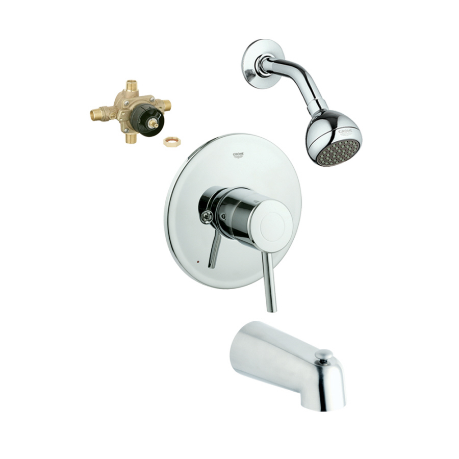 Shop Grohe Concetto Starlight Chrome 1 Handle Bathtub And Shower Faucet With Single Function