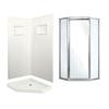 Swanstone Veritek Fiberglass/Plastic Wall and Floor Neo-Angle 3-Piece Corner Shower Kit (Actual: 73.25-in x 37.5-in x 37.5-in)