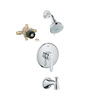 GROHE Parkfield Starlight Chrome 1-Handle Tub and Shower Faucet with Multi-Function Showerhead