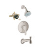 GROHE Parkfield Brushed Nickel 1-Handle Tub and Shower Faucet with Multi-Function Showerhead