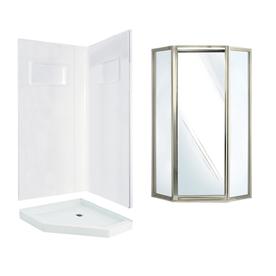 Shop Swanstone Veritek White Fiberglass And Plastic Neo Angle 3 Piece Corner
