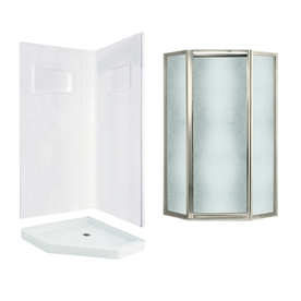 Shop Swanstone Veritek White Fiberglass And Plastic Neo Angle 3 Piece Corner
