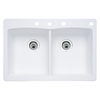 BLANCO Diamond 22-in x 33-in Double-Basin Granite Drop-In or Undermount 4-Hole Residential Kitchen Sink