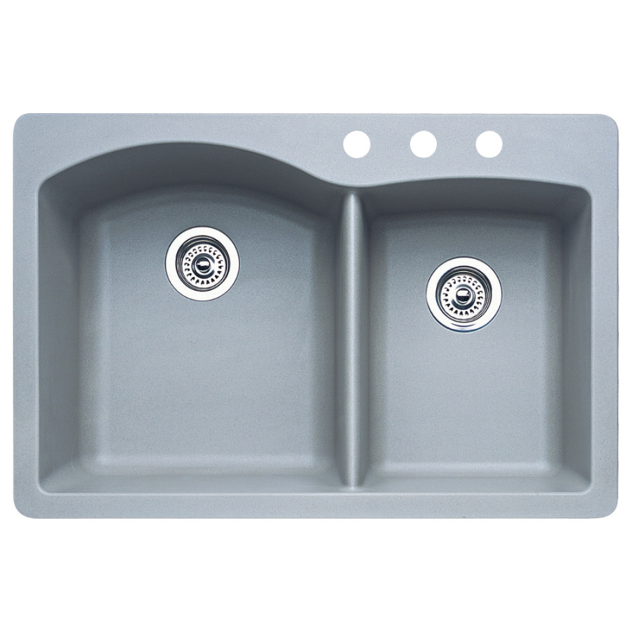 Shop blanco diamond 22 in x 33 in metallic grey double - Undermount granite composite kitchen sink ...