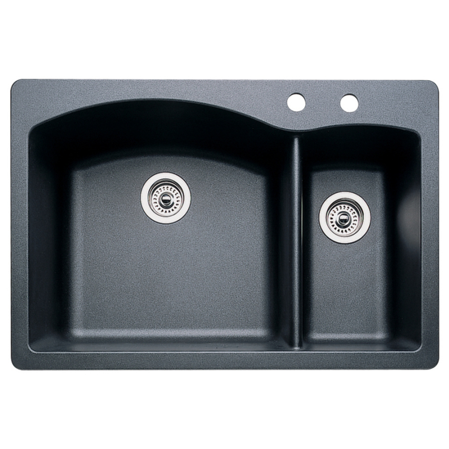 Shop BLANCO Diamond Anthracite Double-Basin Drop-In or Undermount ...