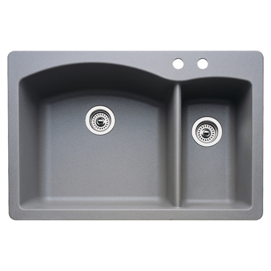 Shop BLANCO Diamond 22-in x 33-in Metallic Grey Double-Basin Granite ...