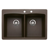 BLANCO Diamond 22-in x 33-in Double-Basin Granite Drop-In or Undermount 2-Hole Residential Kitchen Sink
