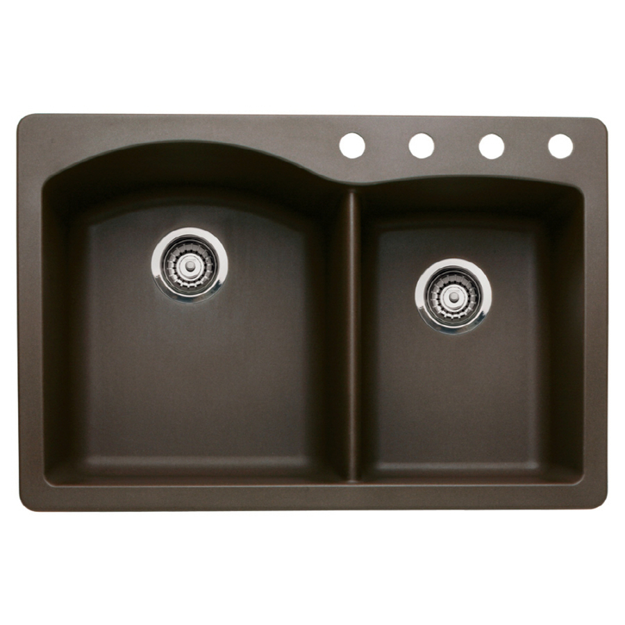 Shop BLANCO Diamond 22-in x 33-in Cafe Brown Double-Basin Granite Drop ...