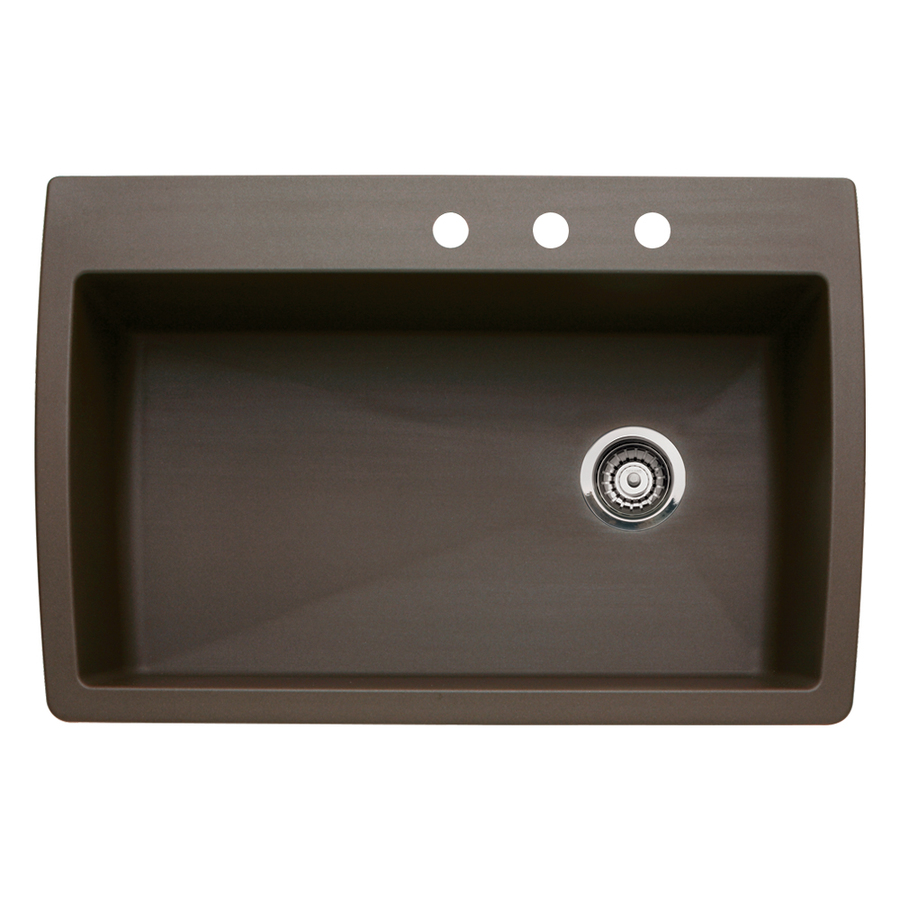 Shop BLANCO Diamond 22-in x 33.5-in Cafe Brown Single-Basin Granite ...