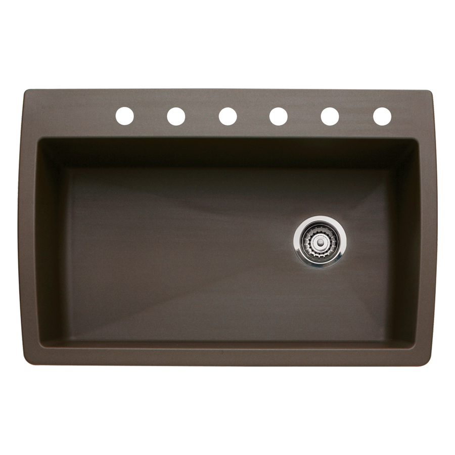 Shop Blanco Diamond 22 In X 33 5 In Cafe Brown Single Basin Granite Drop In Or Undermount