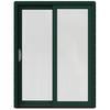 JELD-WEN W-2500 59.25-in 1-Lite Glass Hartford Green Wood Sliding Patio Door with Screen