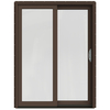 JELD-WEN W-2500 59.25-in 1-Lite Glass Dark Chocolate Wood Sliding Patio Door with Screen