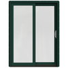 JELD-WEN W-2500 59.25-in 1-Lite Glass Hartford Green Wood Sliding Patio Door with Screen