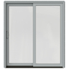 JELD-WEN W-2500 71.25-in 1-Lite Glass Arctic Silver Wood Sliding Patio Door with Screen