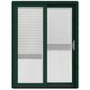 JELD-WEN W-2500 59.25-in Blinds Between The Glass Hartford Green Wood Sliding Patio Door with Screen