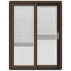 JELD-WEN W-2500 59.25-in Blinds Between The Glass Dark Chocolate Wood Sliding Patio Door with Screen