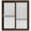 JELD-WEN W-2500 71.25-in Blinds Between the Glass Dark Chocolate Wood Sliding Patio Door with Screen
