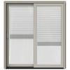 JELD-WEN W-2500 71.25-in Blinds Between the Glass Desert Sand Wood Sliding Patio Door with Screen
