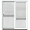 JELD-WEN W-2500 71.25-in Blinds Between the Glass Brilliant White Wood Sliding Patio Door with Screen