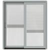 JELD-WEN W-2500 71.25-in Blinds Between the Glass Arctic Silver Wood Sliding Patio Door with Screen