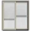 JELD-WEN W-2500 71.25-in Blinds Between the Glass Desert Sand Wood Sliding Patio Door with Screen