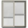 JELD-WEN W-2500 71.25-in Blinds Between the Glass Wood Sliding Patio Door with Screen