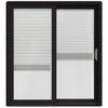 JELD-WEN W-2500 71.25-in Blinds Between the Glass Black Wood Sliding Patio Door with Screen