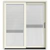 JELD-WEN W-2500 71.25-in Blinds Between the Glass French Vanilla Wood Sliding Patio Door with Screen