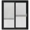 JELD-WEN W-2500 71.25-in Blinds Between the Glass Chestnut Bronze Wood Sliding Patio Door with Screen