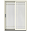 JELD-WEN W-2500 59.25-in Grid Glass French Vanilla Wood Sliding Patio Door with Screen