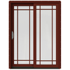 JELD-WEN W-2500 59.25-in Grid Glass Mesa Red Wood Sliding Patio Door with Screen