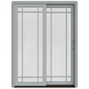 JELD-WEN W-2500 59.25-in Grid Glass Arctic Silver Wood Sliding Patio Door with Screen