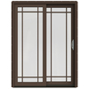 JELD-WEN W-2500 59.25-in Grid Glass Wood Sliding Patio Door with Screen