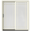 JELD-WEN W-2500 71.25-in Grid Glass Wood Sliding Patio Door with Screen