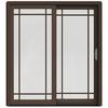 JELD-WEN W-2500 71.25-in Grid Glass Dark Chocolate Wood Sliding Patio Door with Screen