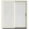 JELD-WEN W-2500 71.25-in Grid Glass Wood Sliding Patio Door with Screen