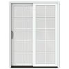 JELD-WEN W-2500 59.25-in 10-Lite Glass Wood Sliding Patio Door with Screen