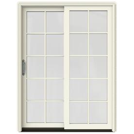 Shop Jeld Wen W 2500 10 Lite Glass French Vanilla Wood Sliding Patio Door With Screen