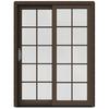 JELD-WEN W-2500 59.25-in 10-Lite Glass Wood Sliding Patio Door with Screen