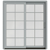 JELD-WEN W-2500 71.25-in 10-Lite Glass Arctic Silver Wood Sliding Patio Door with Screen