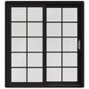JELD-WEN W-2500 71.25-in 10-Lite Glass Black Wood Sliding Patio Door with Screen