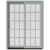 JELD-WEN W-2500 59.25-in 15-Lite Glass Arctic Silver Wood Sliding Patio Door with Screen