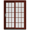 JELD-WEN W-2500 59.25-in 15-Lite Glass Wood Sliding Patio Door with Screen