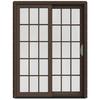 JELD-WEN W-2500 59.25-in 15-Lite Glass Dark Chocolate Wood Sliding Patio Door with Screen