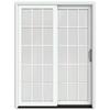 JELD-WEN W-2500 59.25-in 15-Lite Glass Wood Sliding Patio Door with Screen