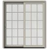 JELD-WEN W-2500 71.25-in 15-Lite Glass Desert Sand Wood Sliding Patio Door with Screen