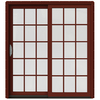 JELD-WEN W-2500 71.25-in 15-Lite Glass Mesa Red Wood Sliding Patio Door with Screen
