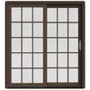 JELD-WEN W-2500 71.25-in 15-Lite Glass Dark Chocolate Wood Sliding Patio Door with Screen