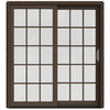 JELD-WEN W-2500 71.25-in 15-Lite Glass Dark Chocolate Wood Sliding Patio Door with Screen