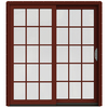 JELD-WEN W-2500 71.25-in 15-Lite Glass Wood Sliding Patio Door with Screen